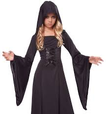 Halloween Costume Girls Hooded Robe Girls Costume Black Robe Kids Halloween Costume