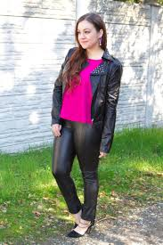 It     s because I think too much  Leather   Magenta SF Bay Area Fashion  amp  Style Blog   Studded moto jacket  leather pants  magenta