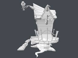 House 3d Model Free Download by 3d Asset Low Poly Creepy House Cgtrader
