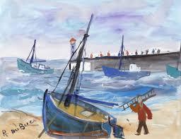 peinture de bord de mer bord de mer avec voilier sur le sable roland dubuc