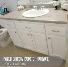 restoration beauty painted bathroom cabinets hardware