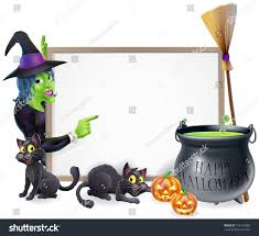halloween background of wich halloween sign background cartoon witch happy stock vector