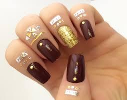 red fake nail set glitter false nails gold acrylic nails