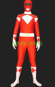 power rangers mighty morphin red and white lycra full body zentai