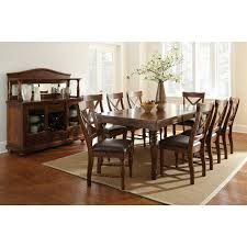 steve silver wyndham 9 piece dining table set distressed tobacco