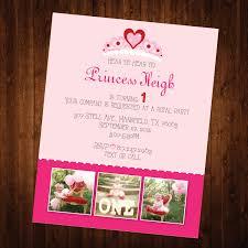 5x7 princess themed first birthday invitation with pink chevron