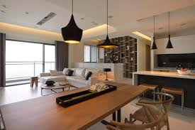 fabulous open floor plans interior with black wooden dining set