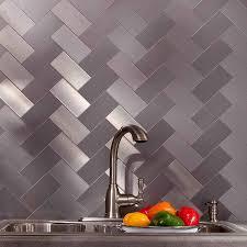 aspect 3x6 brushed stainless short grain metal backsplash tile