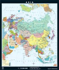 Map Of Asia by Asia Classroom Map With Spring Roll Up Mechanism