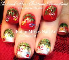 Robin Moses Nail Art by Easy Christmas Nails Xmas Tree With Crystal Nail Art Design