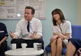 David and Sam Cameron at Royal Salford Hospital  RCN says there are fewer nurses  Photo  Getty