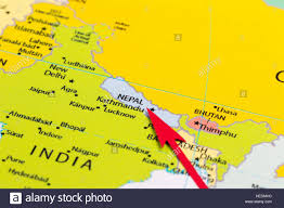 Map Of Asia by Red Arrow Pointing Nepal On The Map Of Asia Continent Stock Photo
