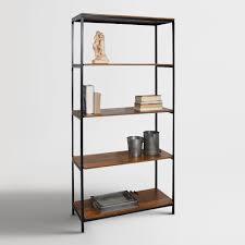 wood and metal williard tall bookshelf storing books open