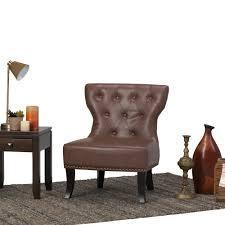 simpli home kitchener rustic brown bonded leather accent chair simpli home kitchener rustic brown bonded leather accent chair