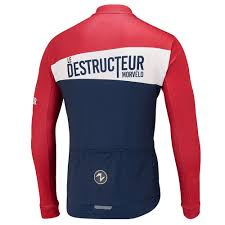 red cycling jacket destructeur thermoactive jersey