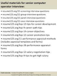 Top   senior computer operator resume samples