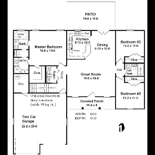 Garage Depth Ranch Style House Plan 3 Beds 2 50 Baths 1400 Sq Ft Plan 21 113