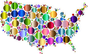 United States Map by Clipart Prismatic United States Map Circles 4