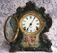 Ansonia Mantel Clock Rare Antique Ansonia Mantel Clock Waco Porcelain Hand Painted
