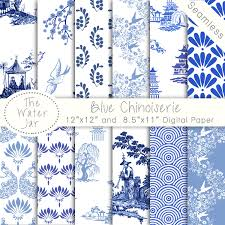 chinoiserie wallpaper china blue digital paper pack commercial
