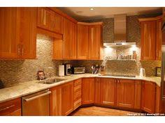 Kitchen Backsplash Cherry Cabinets by Glass Subway Tile Kitchen Backsplash In Prism Squared Aquiline 2 X
