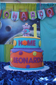 Background Decoration For Birthday Party At Home Boov Cake With Solar System Background From The Movie Home