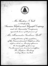 New Office Invitation Card Invitation From Theodore N Vail To Alexander Graham Bell 1915