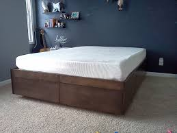 King Platform Bed Frame With Drawers Plans by Diy Platform Bed With Storage Plans Photos Modern Home Design Also