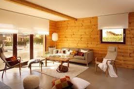 modern log house interior