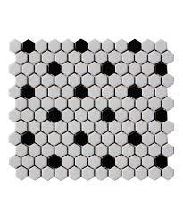 shapes hexagon matt white black 23x26mm mosaic tile topps tiles
