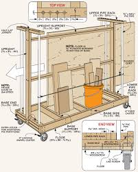 Rolling Wood Storage Rack Plans by Sheet Goods Cart Example Drawing For The Workshop Material