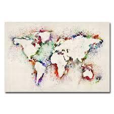 World Map Canvas by Michael Tompsett U0027world Map Paint Splashes U0027 Medium Canvas Art By