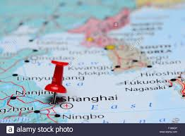 Map Of Asia by Shanghai Pinned On A Map Of Asia Stock Photo Royalty Free Image