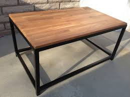industrial butcher block dining table with rectangle shape