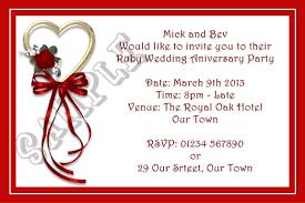 Birthday Invitation Cards Models Stunning Ruby Wedding Anniversary Invitation Cards 88 With