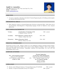 Chemist Resume Samples by Sample Resume Examples For Chemical Engineering Objectives In