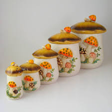 sears merry mushrooms ceramic kitchen canister set retro 1970