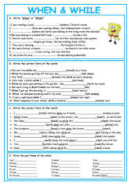 204 free esl past continuous progressive tense worksheets