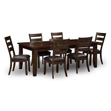 abaco table and 6 chairs brown value city furniture