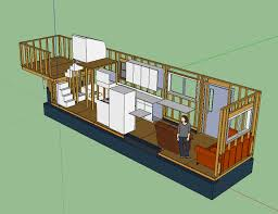 tiny house layout has master bedroom over fifth wheel hitch with