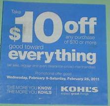Kohls website for coupons