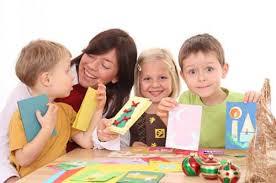 Kids enjoying Christmas crafts