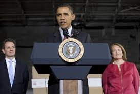 Timothy Geithner, President Obama, and Karen Mills