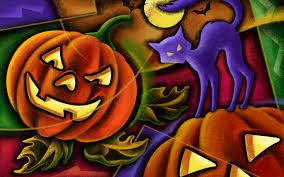 Wallpapers Backgrounds - 51 Halloween illustration Wallpaper Black cat Jack lanterns