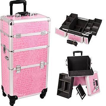 Pink Croc 4-Wheel Makeup Case - i3261