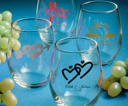 Personalized Glassware Stemless Wine Glasses
