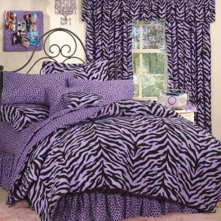 Purple and Black Full Zebra Print Bed