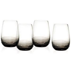 Mikasa Swirl Set of 4 Stemless Wine Glasses