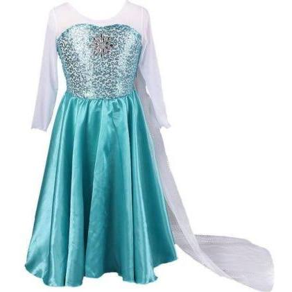 Kids Girls Dresses Queen Elsa Frozen Costume