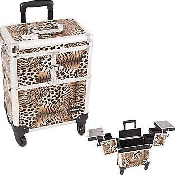 Leopard 4 Wheels Makeup Case Organizer